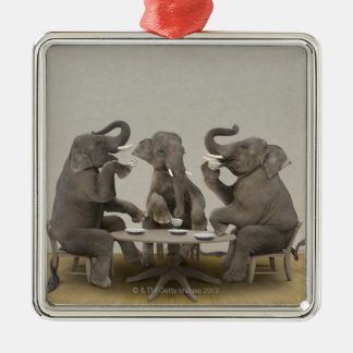 Elephants having tea party christmas ornament