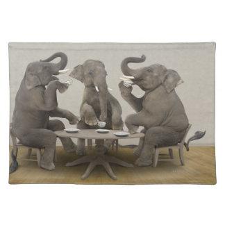 Elephants having tea party placemat