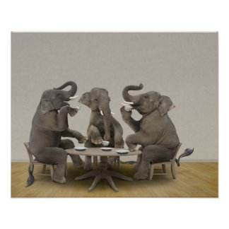 Elephants having tea party poster