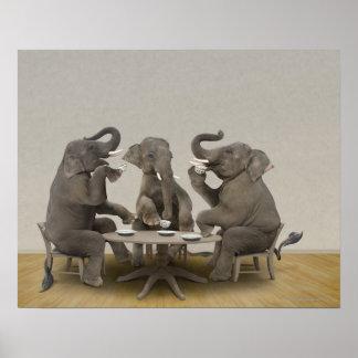 Elephants having tea party poster