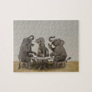 Elephants having tea party puzzle