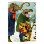 Elephants Hippopotamus & Bears Christmas Caroling Greeting Card