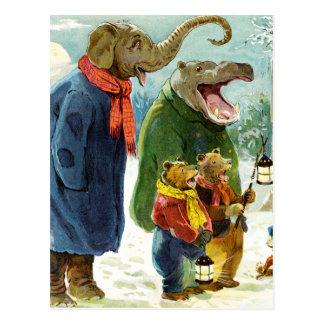 Elephants Hippopotamus & Bears Christmas Caroling Postcard