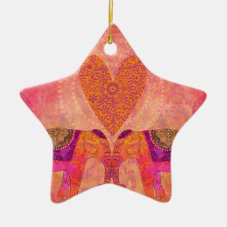 Elephants in Love Ceramic Star Decoration