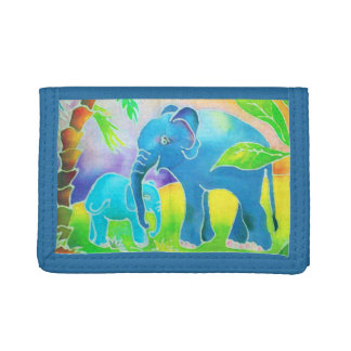 Elephants in the Jungle Watercolor Painting Tri-fold Wallet