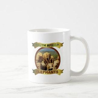 Elephants in water framed banner coffee mug