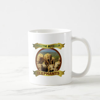 Elephants in water framed banner classic white coffee mug