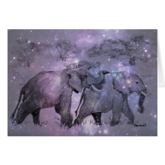 Elephants in Winter Customisable Card