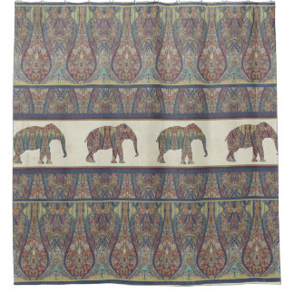 Elephants Kashmir Pattern Tribal Boho Bohemian Shower Curtain