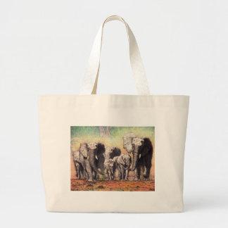 elephants large tote bag