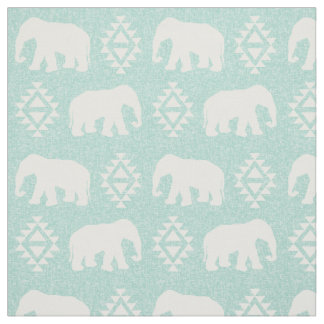 Elephants - mint fabric
