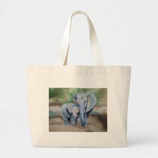 Elephants- Mother and Baby Jumbo Tote Bag