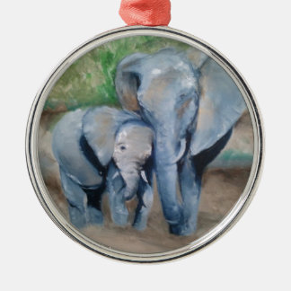 Elephants- Mother and Baby Silver-Colored Round Decoration