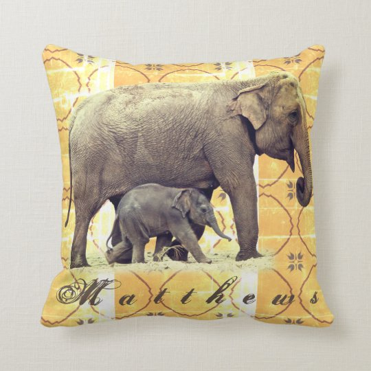 Elephants Mother and Calf Vintage Africa Pillow
