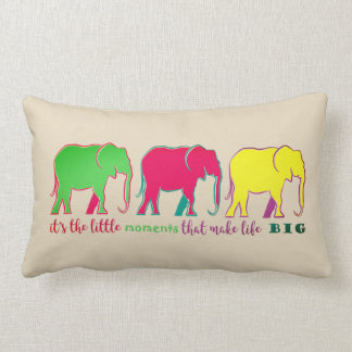 Elephants Neon Silhouettes Colorful Inspiration Lumbar Cushion