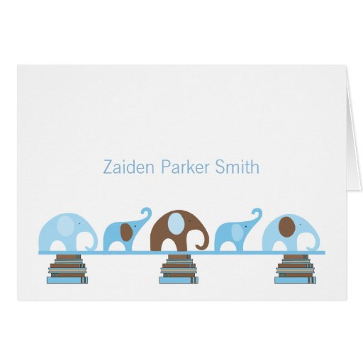 Elephants on Books Baby Thank You Note with photo Greeting Card