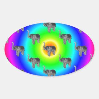 Elephants On Rainbow Burst Pattern Oval Sticker