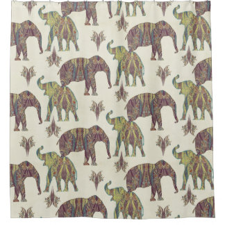 Elephants Paisley Pattern Tribal Boho Bohemian Art Shower Curtain