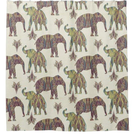 Elephants Paisley Pattern Tribal Boho Bohemian Art Shower
