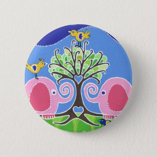 Elephants Parading in the Forest 6 Cm Round Badge