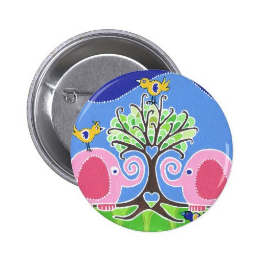 Elephants Parading in the Forest Pinback Buttons