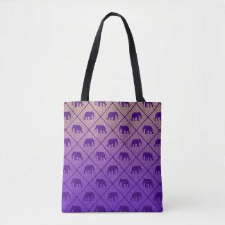 Elephants pattern on gradient noisy background tote bag