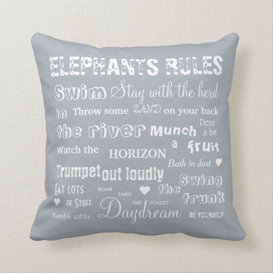 Elephants Rules White/Grey Reversible Pillow