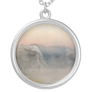 Elephants sanctuary silver plated necklace