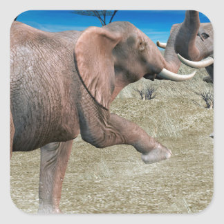 Elephants Serengeti Challenge Square Sticker