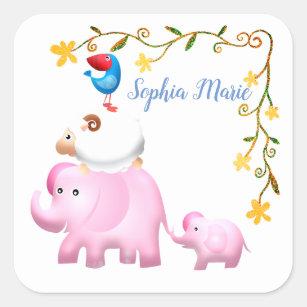 Elephants, Sheep & Bird Animal Tower Square Sticker