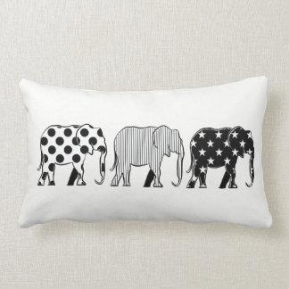 Elephants Silhouette Pattern Modern Black White Lumbar Cushion