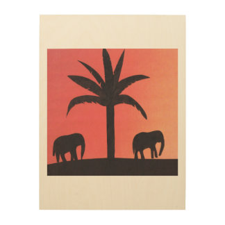Elephants Silhouetted on a Sunset Background Wood Wall Art