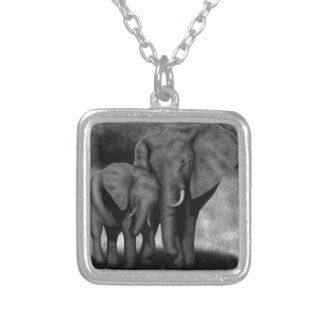 Elephants Silver Plated Necklace