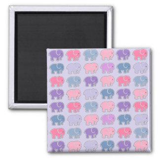 Elephants Square Magnet
