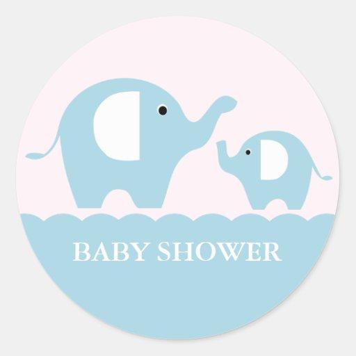 Elephants Round Stickers