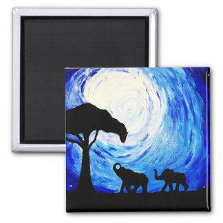 Elephants Under Moonlight (K.Turnbull Art) Square Magnet