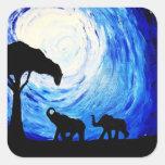 Elephants Under Moonlight (K.Turnbull Art) Square Stickers
