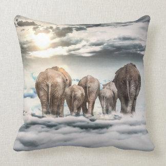 Elephants Walking on Clouds Fantasy Illustration Throw Cushions