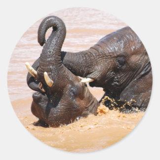 Elephants water world round sticker