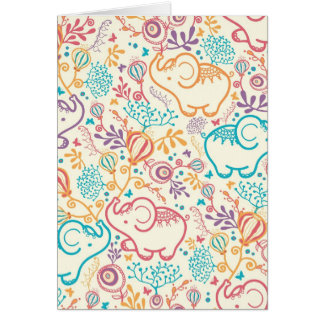 Elephants with bouquets pattern greeting card