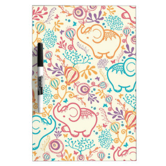 Elephants with bouquets pattern dry erase board