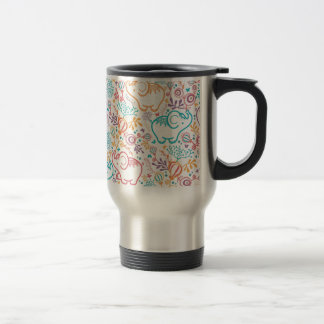 Elephants with bouquets pattern stainless steel travel mug