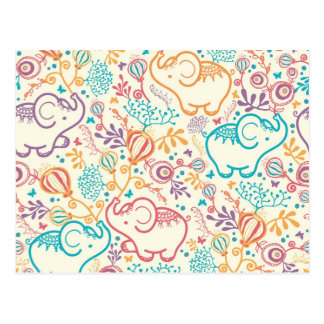 Elephants with bouquets pattern postcards