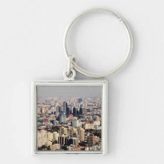 Elevated Beijing Cityscape Silver-Colored Square Key Ring