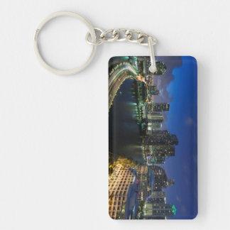 Elevated city skyline from Brickell Key Acrylic Key Chain