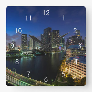 Elevated city skyline from Brickell Key Square Wall Clock