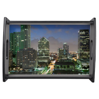 Elevated city skyline serving tray