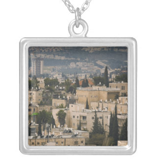 Elevated city view from Jerusalem YMCA tower Silver Plated Necklace