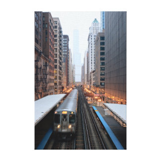 Elevated rail in downtown Chicago over Wabash Canvas Print