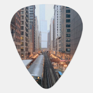 Elevated rail in downtown Chicago over Wabash Guitar Pick